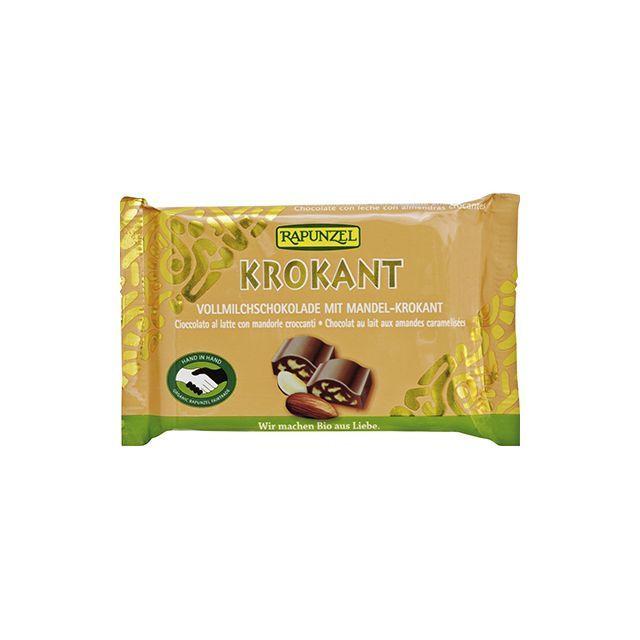 Ciocolata Cristalino cu Migdale crocante bio 100g, Rapunzel