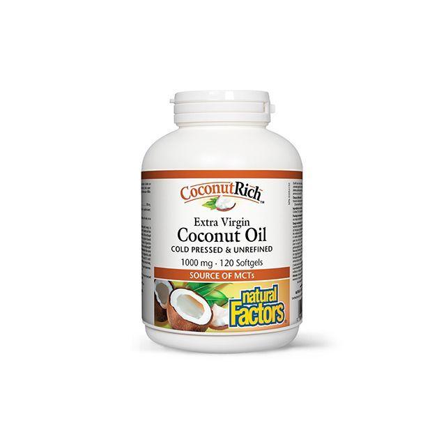 Ulei de cocos biologic extravirgin 1000mg 120 capsule moi, Natural Factors