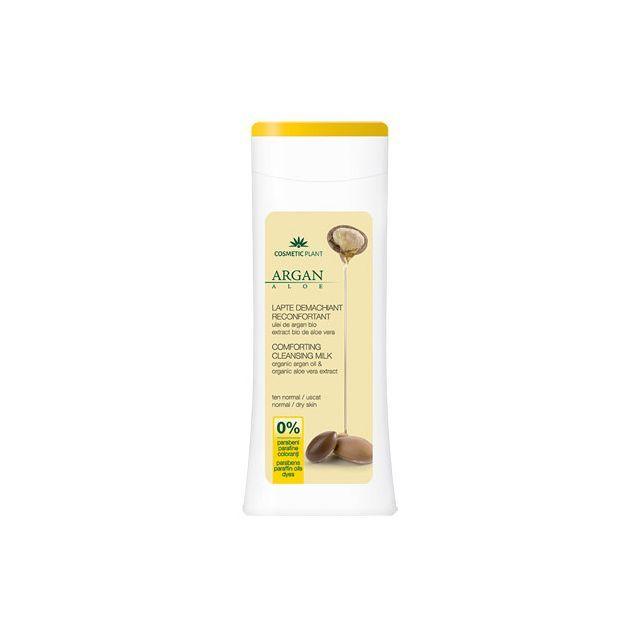 Lapte demachiant reconfortant cu ulei de argan bio si extract bio de aloe vera 200ml, Cosmetic Plant