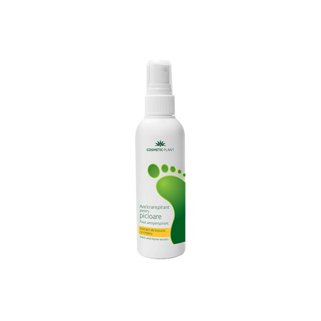 Lotiune antitranspiranta pentru picioare cu extract de busuioc si cimbru 100 ml, Cosmetic Plant