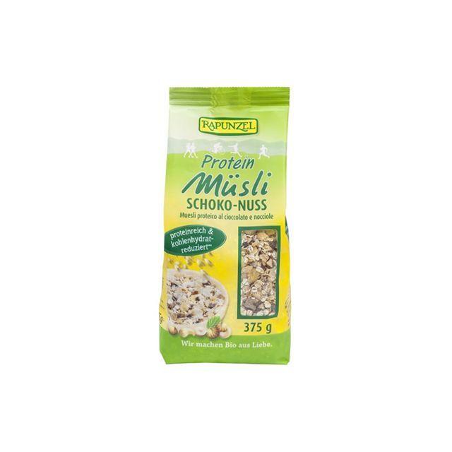 Musli proteic, cu alune si ciocolata bio 375g, Rapunzel