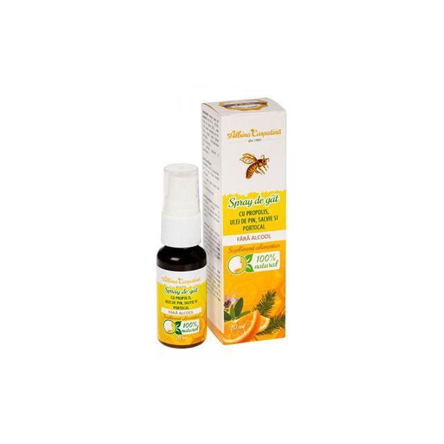 Spray de gat cu propolis, ulei de pin, salvie si portocala 20ml, Albina Carpatina